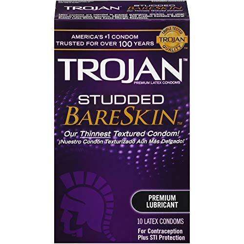 Trojan Magnum Lubricated Latex Condoms - Trojan Studded Bareskin Lubricated Condoms, 10ct