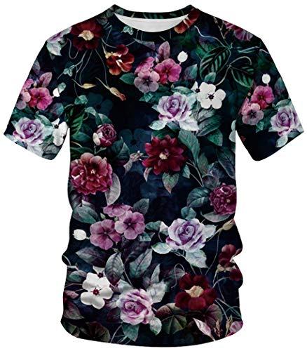 Con Plus Sportswear Piani Costume Maglietta Manica Ocean Carnevale Unisex Stampa Corta Fiori Uomo Girocollo qMzLSUVpG