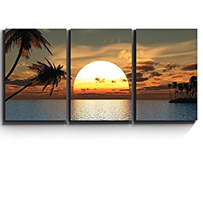 Tropical Sunset Endless Summer - Canvas Art Wall Art - 24x36x3 Panels