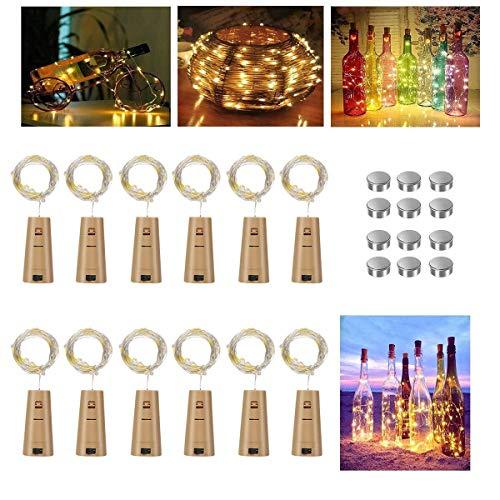 Vicloon Weinflasche Lichter, 12 Stück 2M 20 LEDs Flaschen Licht mit Batterie, Warmweiß, Led Korken Lichterkette für Flasche DIY, außen/innen Deko, Party, Hochzeit, Weihnachten, Stimmung Lichter