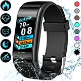 Fitness Tracker, 1.14″TFT Color Screen Fitness Watch with Heart Rate and Blood pressure , IP67 Waterproof Smart Watch with Step Counter, Calorie Counter, Call & SMS Pedometer Watch for Women Men