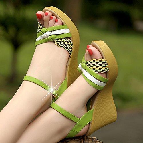 Gruesas Señoras High Pendiente Mujer De EU39 SHOESHAOGE Sandalias Heeled Eu37 Zapatos Casual Femenino Bizcocho con De qvxBS