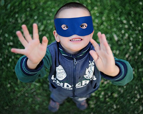 Superhero Eye Masks - 12-Pack Kids Party Mask Accessories for Costume Birthday Party, Halloween, Prom, Masquerade, Blue, 7 x 2.75 inches