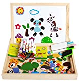 Magnetic Jigsaw Puzzles Matching Picture Game Double Sided Wooden Easel Drawing Blackboard Magnetic Whiteboard Animal Magnet Puzzle Educational Learning Toys Gift For Kids Boys Girls 3 4 5 6 Years Old