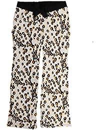Womens Plush Ivory Leopard Print Sleep Pants Pajama Bottoms
