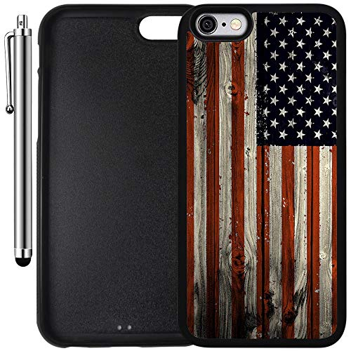 Custom Case Compatible with iPhone 6 Plus/6S Plus (5.5 inch) (American Flag on Wood) Edge-to-Edge Rubber Black Cover Ultra Slim | Lightweight | Includes Stylus Pen by Innosub (Iphone 6 Skins American Flag)
