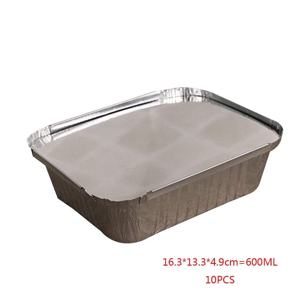 shangjunol 10pcs Forma de rectá ngulo Vajilla de Aluminio Pan para Llevar contenedores de Alimentos con Tapas de Aluminio/sin Tapa