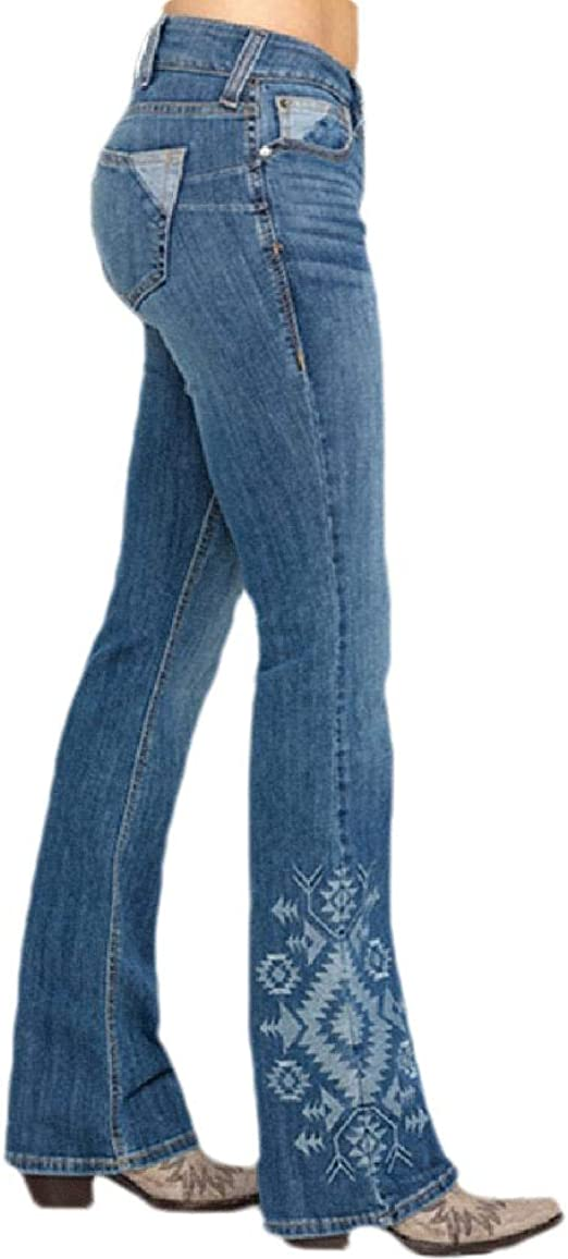 sayahe Women's Middle Waist Fitted Washed Stylish Flare Jeans with Pockets