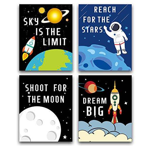 HPNIUB Cartoon Rocket Art Picture Space Posters Astronaut Art Print Set of 4 (10