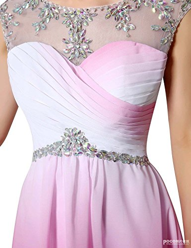 Sheer Ausschnitt Brautjungfer Damen Partei mit Chiffon Kleid UK10 Sequines Cocktail Fuchsia Kurzarm Crystal Clearbridal Kleid CSD228 5qI1wEdxw8