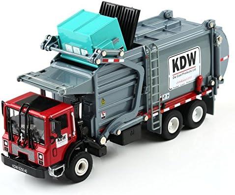 [スポンサー プロダクト]KAIDIWEI 工事車模型 ゴミ収集車 ゴミ収集トラック 高品質 1/24スケール 合金製 グレー