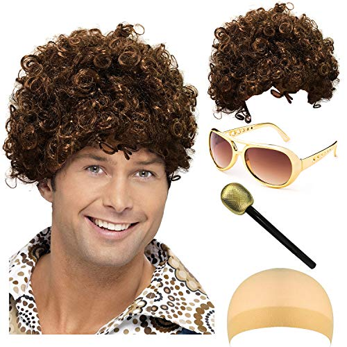 Disco King 1970s Halloween Costume Set - Disco Dirt Bag Dude Wig,Rockstar 50's, 60's Style Aviator Shades Sunglass,Party -