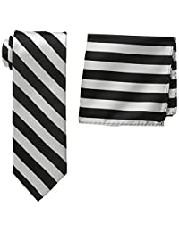 Stacy Adams Men's Tall-Plus-Size Solid Woven Formal Stripe Tie Set Extra Long