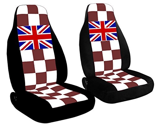 2 fundas de asiento delanteras a cuadros con un conector de bandera británica para 2001 a 2006 Mini Cooper 20 colores a...