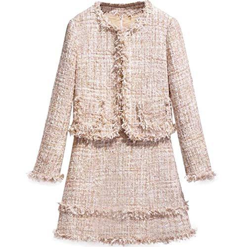 Womens Wool Set Tassels Trim Short Jacket with Vest Tweed Party Dress