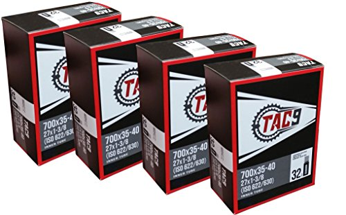 TAC 9 4 Pack Tube, 700 x 35-40 (27 x 1-3/8) Regular Schrader Valve, 32mm, (ISO 622/630) (Recumbent Bicycle 700c)