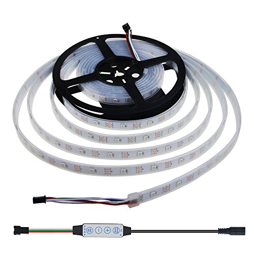 WS2812B Digital RGB LED Strip 150 Pixels Individually Addressable 5V, Aclorol WS2812B Programmable 5050SMD 30 LEDs/m LED Strip Dream Color IP67 Waterproof Work w/Arduino & Raspberry Pi Controller