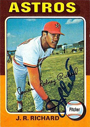 J.R. Richard autographed baseball card (Houston Astros) 1975 Topps #73 - Baseball Slabbed Autographed Cards