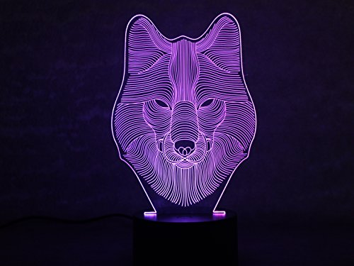 YiFoCus 3D Wolf Night Light 7 Colors Changing,Touch Button Creative Design Optical Illusion LED Table - Metal Lamp Table Kinder