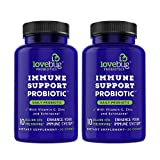 Lovebug Probiotic - Immune Support Wellness Supplement, Contains Vitamin C, Zinc & Echinacea, Time Release Patent Delivery for Cold and flu, 60 Day Supply. (60)