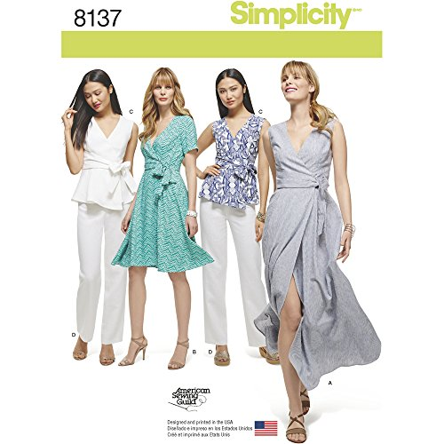 Simplicity Creative Patterns 8137 Misses' and Plus Size Wrap Dresses, Top and Pants, AA (10-12-14-16-18) (Wrap Sew Dress)