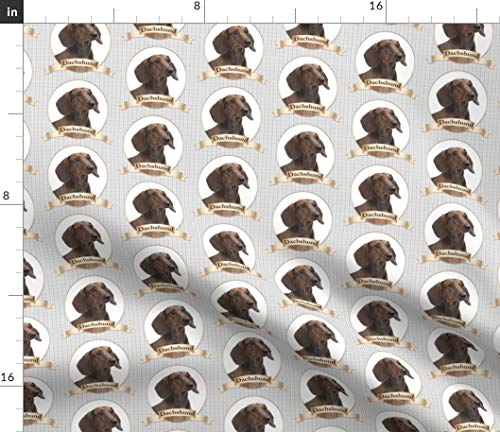 Dachshund Fabric - Dog Pet Animal Smooth Coat Brown Print on Fabric by The Yard - Denim for Sewing Bottomweight Apparel Home Decor Upholstery