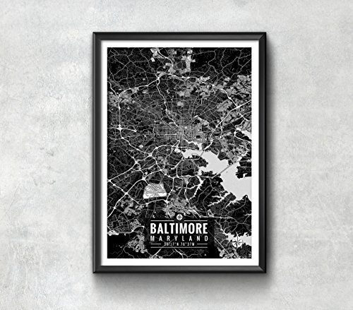 Baltimore Maryland Map with Coordinates, Baltimore Map, Map Print, Baltimore Print, Baltimore Art, Baltimore Gift, Baltimore Decor, Baltimore Maryland, Map (Baltimore Maryland Map)