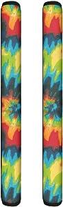 Renewold 1 Pair 2 pcs Washable Refrigerator Door Handle Cover, Rainbow Tie-dye Decor,Handles Anti-static Antiskid Protector for Fridge Oven Keep Off Fingerprints,Liquid,Oil Stain,Food Spot