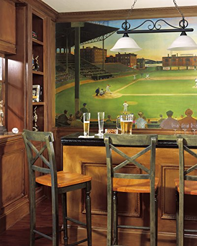 Baseball Stadium Mural - York Wallcoverings York Kids IV UR2024M Under The Lights Mural, Multi