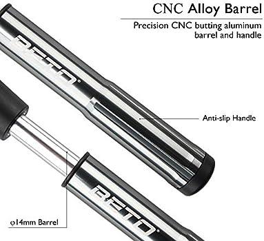 Beto SP-005AG Tyre /& Shock CNC Alloy Mini Hand Pump Black Presta Schrader Dual