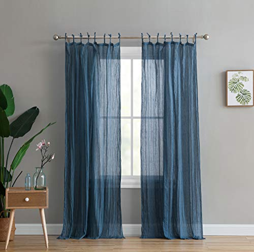 Peach & Oak Window Curtain - Clover Solid Blue 84