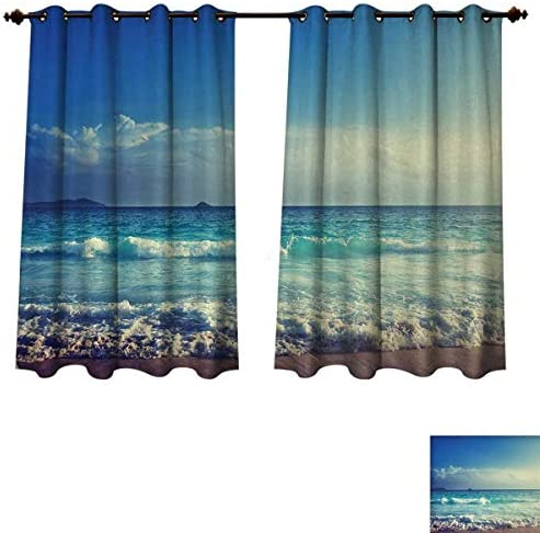 Anzhouqux Ocean Blackout Curtains Panels for Bedroom Tropical Island Paradise Beach at Sunset Time with Waves and The Misty Sea Image Room Darkening Curtains Cream Turquoise W52 x L63 inch