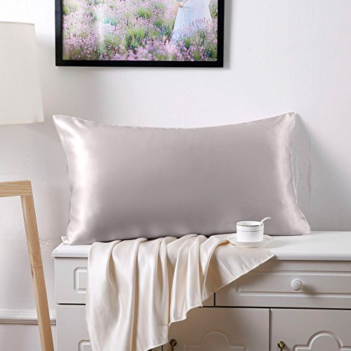 Dark Silver China (SLPBABY Silk Pillowcase for Hair and Skin with Hidden Zipper Print (Standard(20''x26''), Silver))