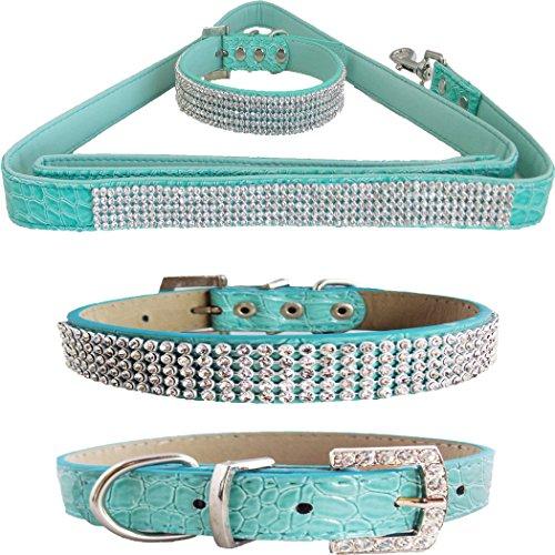 WwWSuppliers Teal Green PU Leather Crocodile Bling Dog Puppy Pet Adjustable Collar & Teal Green Bling Leash Lead Elegant Flashy Dazzling Fancy Diva Luxury Fashion Combo (Fancy Poodle)