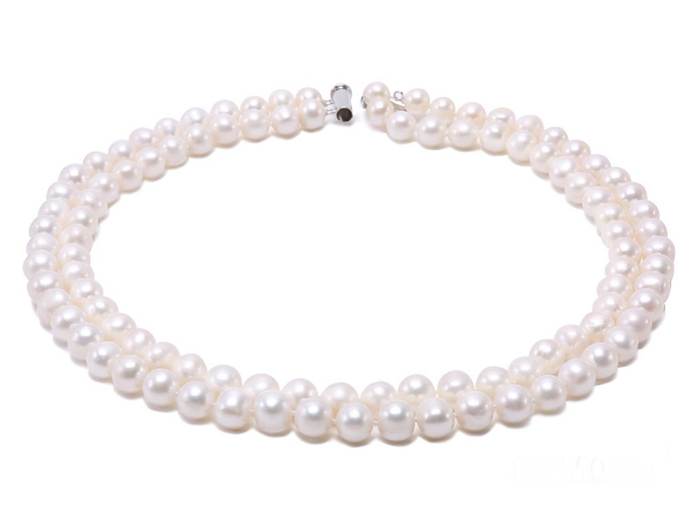 JYX Double-row 8-9mm Round Freshwater Cultured Pearl Necklace 20''