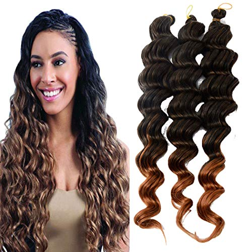 20 Inch ombre deep wave braiding hair synthetic Crochet Braid Hair 6 piece Deep Twist Crochet Hair T30