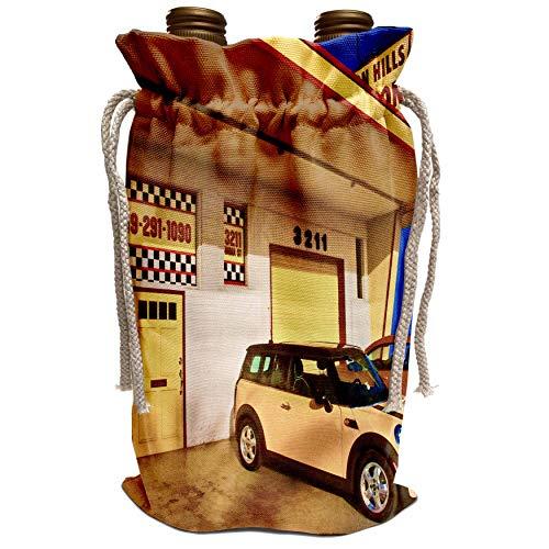 3dRose Chris Lord Automobilia - Yellow Garage Mini Cooper - Wine Bag (wbg_55967_1)