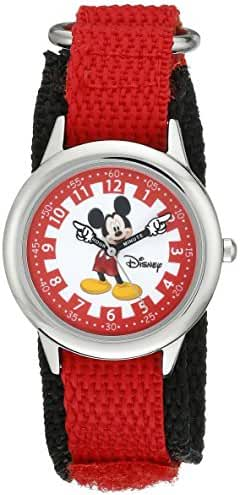 Disney Kids' W000241 Mickey Mouse Stainless Steel Time Teacher Watch with Red Nylon Band