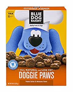 Blue Dog Bakery Natural Low Fat Dog Treats, Peanut Butter and Molasses Flavor Doggie Paws, 10-Ounce Boxes (Pack of 6)