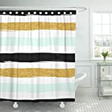 Hot Pink and Brown Shower Curtain Breezat Shower Curtain Watercolor Summer Striped Gold Blue Mint White and Black Modern Pattern Colorful Sparkle Waterproof Polyester Fabric 60 x 72 Inches Set with Hooks