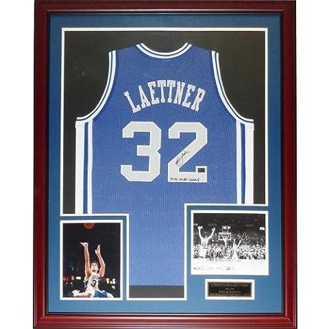 Christian Laettner Autographed Duke Blue Devils (Blue #32) Deluxe Framed Jersey w/