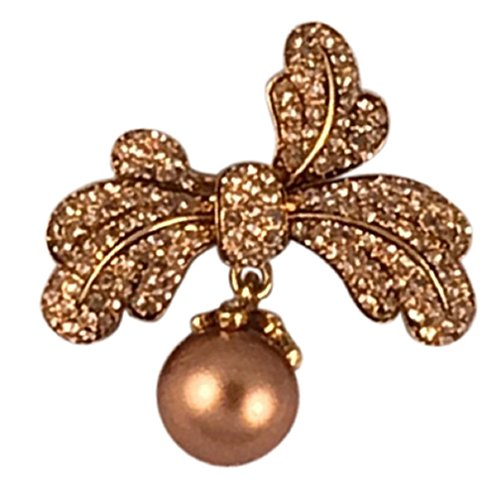 na Crystal Leaf Brooch with Dangling Pearl Stone (Taupe)