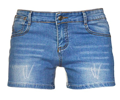 PHOENISING Women's Sexy Denim Fabric Short Pants Comfy Stretchy Shorts,Size 2-16 Denim Jean Fabric