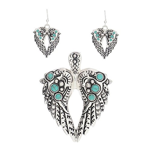 rtone Angel Wings Simulated Turquoise Aztec Style Pendant With Earrings (Angel Turquoise Pendant)