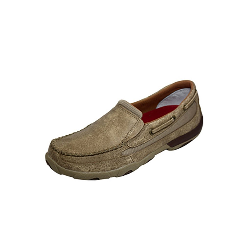Twisted X Youth's Leather Slip-On Rubber Sole Driving Moccasins - Dusty Tan