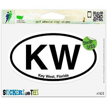 Kw key west fl florida oval vinyl car bumper window sticker 3 x 2
