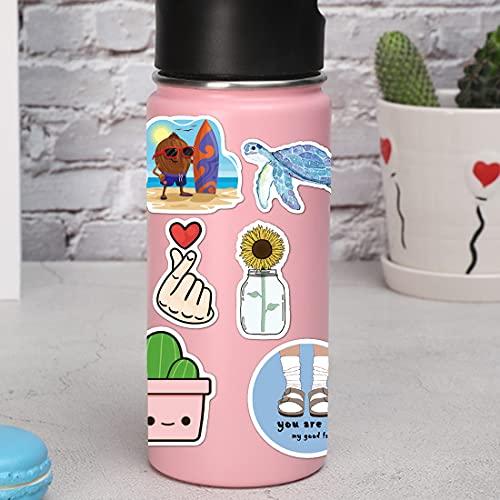 100 Pcs/Pack Water Bottle Stickers, Cute Aesthetic Vsco Stickers for Hydroflask Computer Laptop Skateboard, Waterproof Vinyl Stickers for Girls Teens Kids