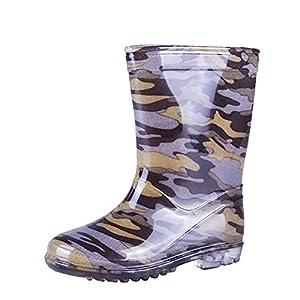 VICVIK children Camouflage Rain Boots Kids Lightweight Cute Waterproof Raining Shoes(Little Kid Boy)(Green,12M)