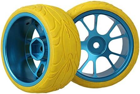 Mxfansブルー10-spoke合金ホイールリム+イエロー魚スケールパターンラバータイヤfor RC 1: 10On Road Car Set of 4