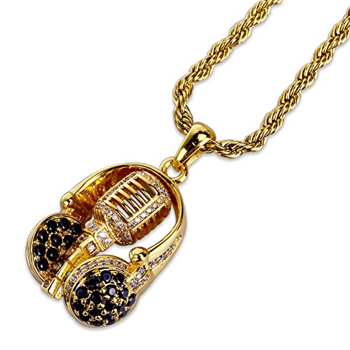 JINAO Music Design Iced Out Hip Hop Headset and Microphone Pendant Necklace 24'